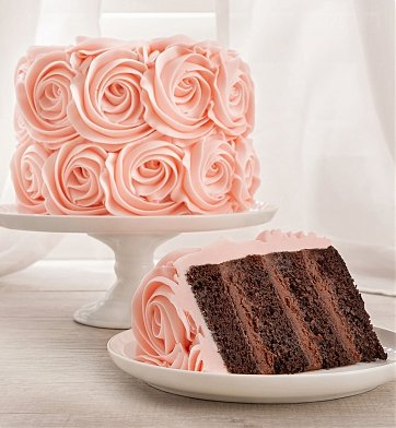 Cakes and Desserts: Pink Roses Chocolate Cake