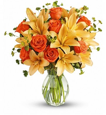Roses: Fiery Lily and Rose Bouquet