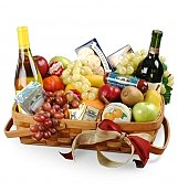 Wine & Fruit Baskets: Thank You Gourmet Fruit Basket with Wine
