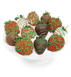 One Dozen Chocolate Dipped Holiday Strawberries