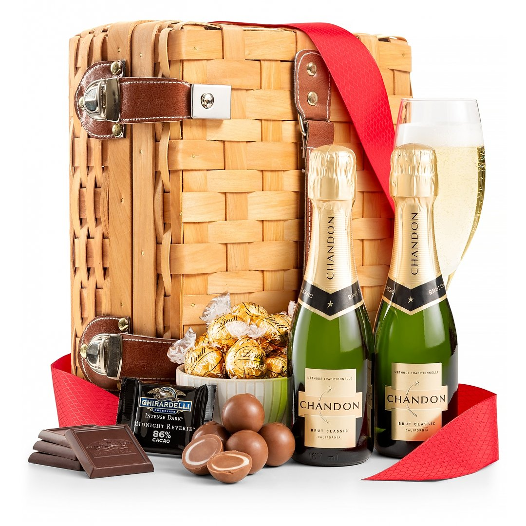 Champagne Gift Baskets: Champagne and Chocolates for Two