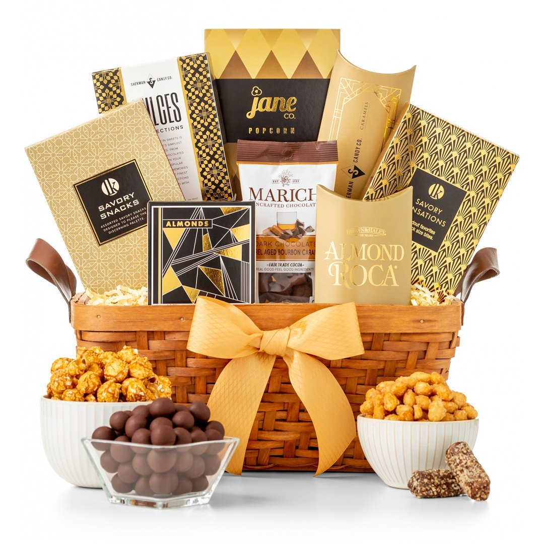 : Gold Ribbon Gourmet Gift Basket