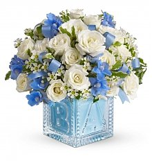 Flower Bouquets: Baby Boy's First Block