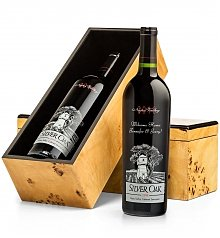 Wine Gift Boxes: Engraved Silver Oak Cabernet Gift