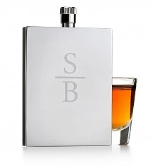 Wine Accessories & Decanters: Engraved Keepsake Metal Flask