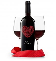 Personalized Wine Gifts: Red Romance Engraved Wine Bottle