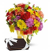 Flower Bouquets: Colorful Blooms Bouquet with Free Box of Chocolates