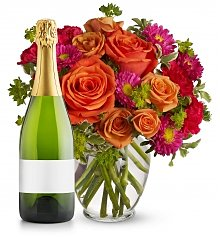 Flower Bouquets: How Sweet It Is Bouquet with Champagne